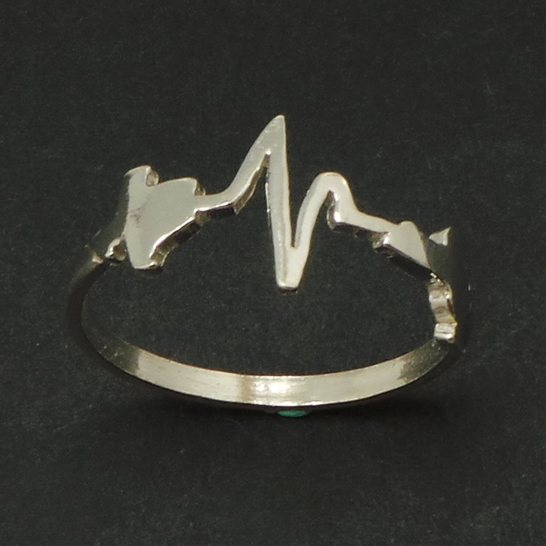 Handmade Personalized Silver Heartbeat Custom State to State Texas New York Ring