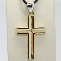 18K YELLOW & WHITE GOLD CROSS PENDANT, SQUARED, 1.6 INCHES, 4.1 CM MADE IN ITALY image 2