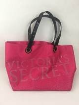 Pre-owned Victorias Secret Hot Pink Satin Rhinestone STUD Bling Tote Bag - $13.07