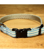 Mod Stripe Blue Grosgrain Adjustable Cat Collar / Made in Japan - $22.00