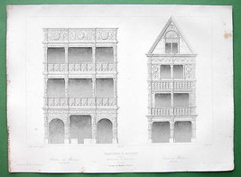 ARCHITECTURE PRINT 1850 - France Timber Houses at Rouen on Rue Grosse-Ho... - $12.60
