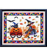 Pumpkin Parade fall autumn halloween cross stitch chart Bobbie G Designs - $9.00