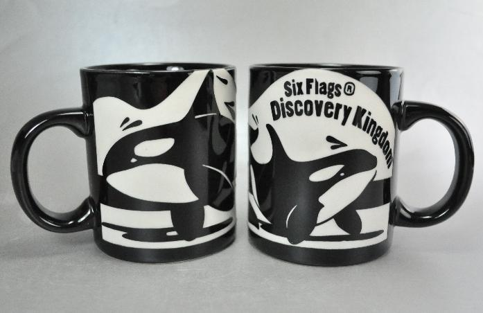 Six Flags Discovery Kingdom Shouka Orca Etched Coffee Mugs Cups