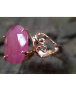 Rose gold plated silver ring with natural ruby - $60.00