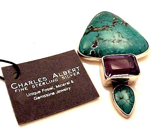 79410a sterling silver pendant pin brooch turquoise amethyst necklace charles albert