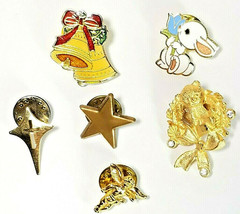 6 Vintage Lapel Pins Easter Rabbit Christmas Bells Wreath Cherub Star  Cross