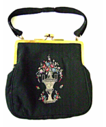 Art Deco Black Silk Purse Hand Embroidered Flow... - $30.00