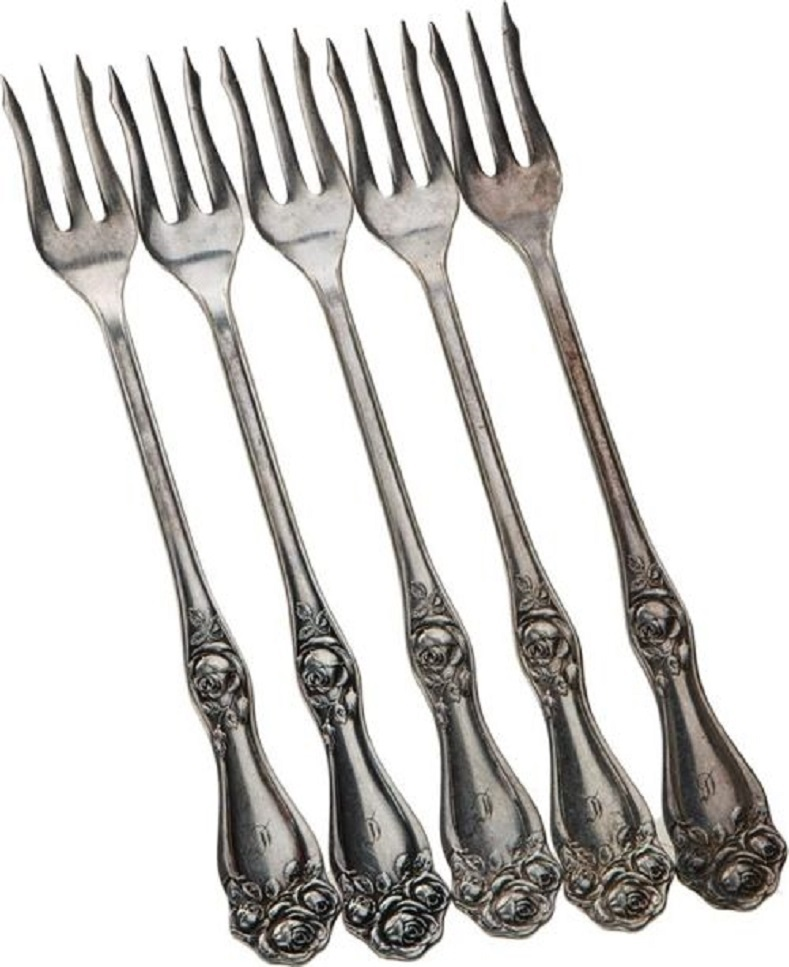 Antique Silver-plate Holmes & Edwards XIV American Beauty Rose 5 Seafood Forks