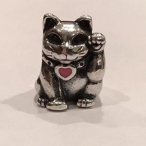 Authentic Pandora Lucky Cat Enamel Heart Charm Pandora 925 Sterling Silver Charm - $25.99