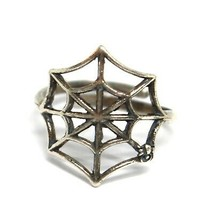 Ring aus Silber 925, Spinnennetz, Effekt Antik, Brüniert, Band, Spinne image 2