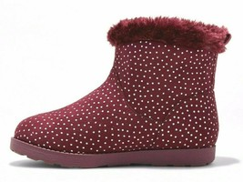 Cat & Jack Girls' Burgundy Red Silver Dots Darby Faux Fur Winter Boots image 2