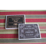 COFFEE, CHOCOLATE & FRIENDSHIP GREETING - TWO CARD SET  - Free Shipping - $7.75