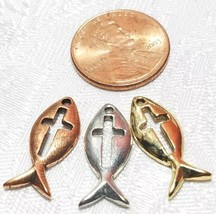 FISH WITH CROSS FINE PEWTER PENDANT CHARM - 9mm L x 21mm W x 2mm D image 2