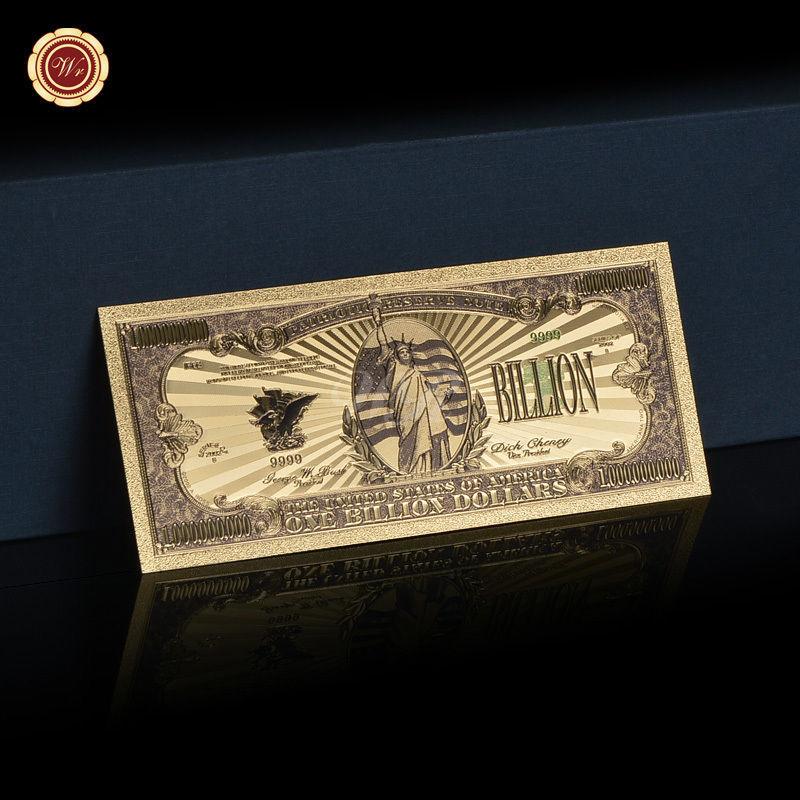 10pcs Big Value US America $1 Billion Dollar Banknotes 99.9 Gold Polyester Note