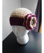 Ladies Raspberry & Creme Crochet Flowered Hat - $20.00