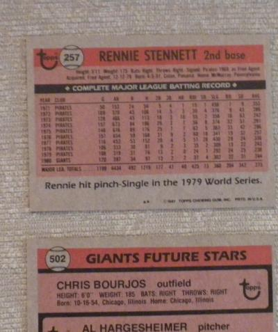 Rennie Stennett San Francisco Giants original 1981 TOPPS baseball card #257 NM