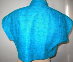 NWT $468 Womens S USA Worth New York Light Blue Silk Micro Jacket NWT Crop Oasis image 4