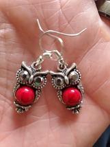 Tibetan Silver Owl Red Turquoise Dangle Earrings Women's Fashion Jewelry Trendy  - $15.00
