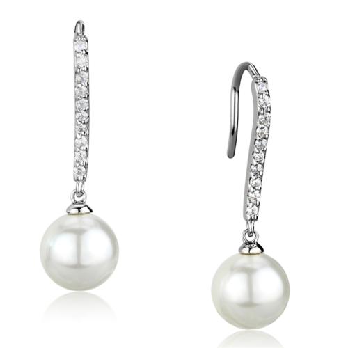 Primary image for Women's Brass Synthetic White 10mm Round Dangle & Drop Earrings
