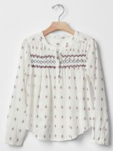 NWT $40 GAP Kids Girls Smocked Embroidered Peasant Blouse Shirt Top S L 6 7 10 - $25.99