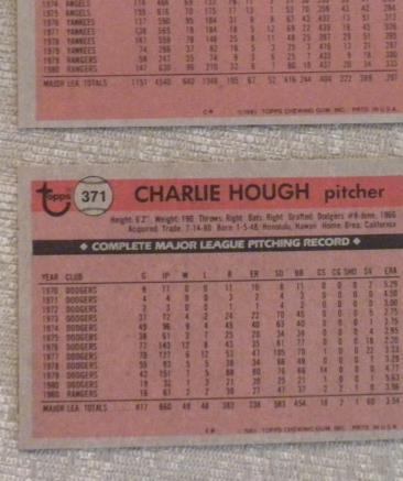 Charlie Hough Texas Rangers  original 1981 TOPPS card # 371 NM