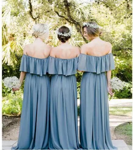 Primary image for Blue Chiffon Off Shoulder Long Bridesmaid Dresses, Sexy Formal Party Gowns 2018