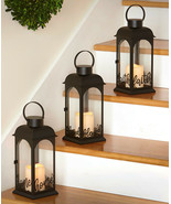 Decorative Sentiment Lantern LED Pillar Candle Hanging or Tabletop in 3 ... - $18.78+