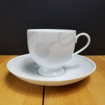 FOUR Mikasa Classic Flair Gray Cups & Saucers Sets White Embossed Calla ... - $11.88