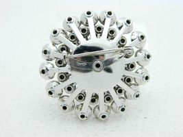 CORO Clear Rhinestone Silver Tone Flower Large Brooch Vintage image 4
