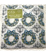 VTG Norcross Christmas Gift Wrap Wrapping Paper Mcm Wreath Blue Silver F... - $23.16