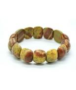 Brown Tan Jasper Polished Stone Oval Bead Stretch Vintage Bracelet One Size - $24.74