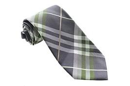 Geoffrey Beene New Green Grey Pierre Plaid Tie OS $55 DBFL - $15.88