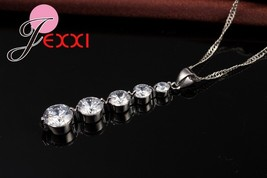 Fashion Cubic Zirconia Long Tassel Drop Necklace Earrings Set 925 Sterli... - $12.29