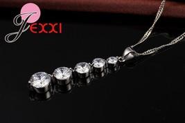 Fashion Cubic Zirconia Long Tassel Drop Necklace Earrings Set 925 Sterling Silve - $12.29