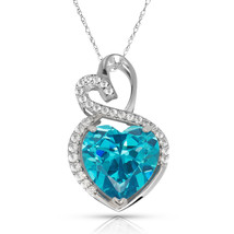 4.20 Carat Halo Blue Topaz Double Heart Gemstone Pendant & Necklace14K W... - $173.25