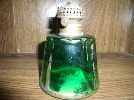 Green Oil Lamp Base with Gold Paint Trim - $90.00