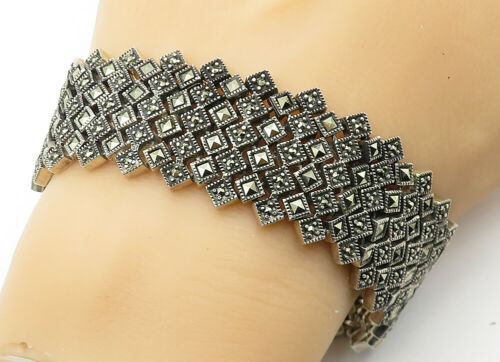 925 Sterling Silver - Vintage Marcasite Decorated Wide Chain Bracelet - B6304