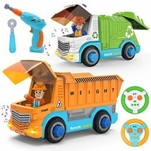 JOYIN Remote Control Take Apart Construction & Garbage Truck with Built-in Light