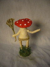 Vintage Inspired Spun Cotton Holiday Ornament Mushroom Person no.E 41 Short Hat image 2