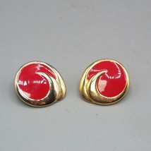 Vintage Red Enamel & Goldtone Post Earrings 1980's - $9.89