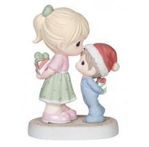 Precious Moments Girl Kissing Boy Santa Hat Present Christmas Figurine P... - $45.53