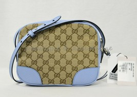 NWT Gucci Bree Shoulder/Crossbody Bag in GG Canvas and Mineral Blue Leat... - $799.00