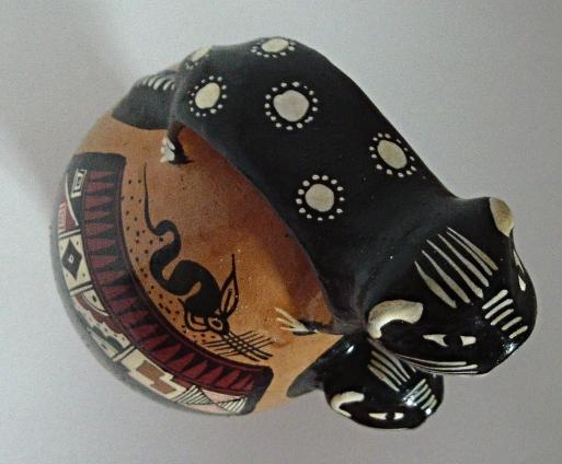 Vintage Cuzco Peru Culture Jaguar Inca Clay Vessel Ceramic Folk Art