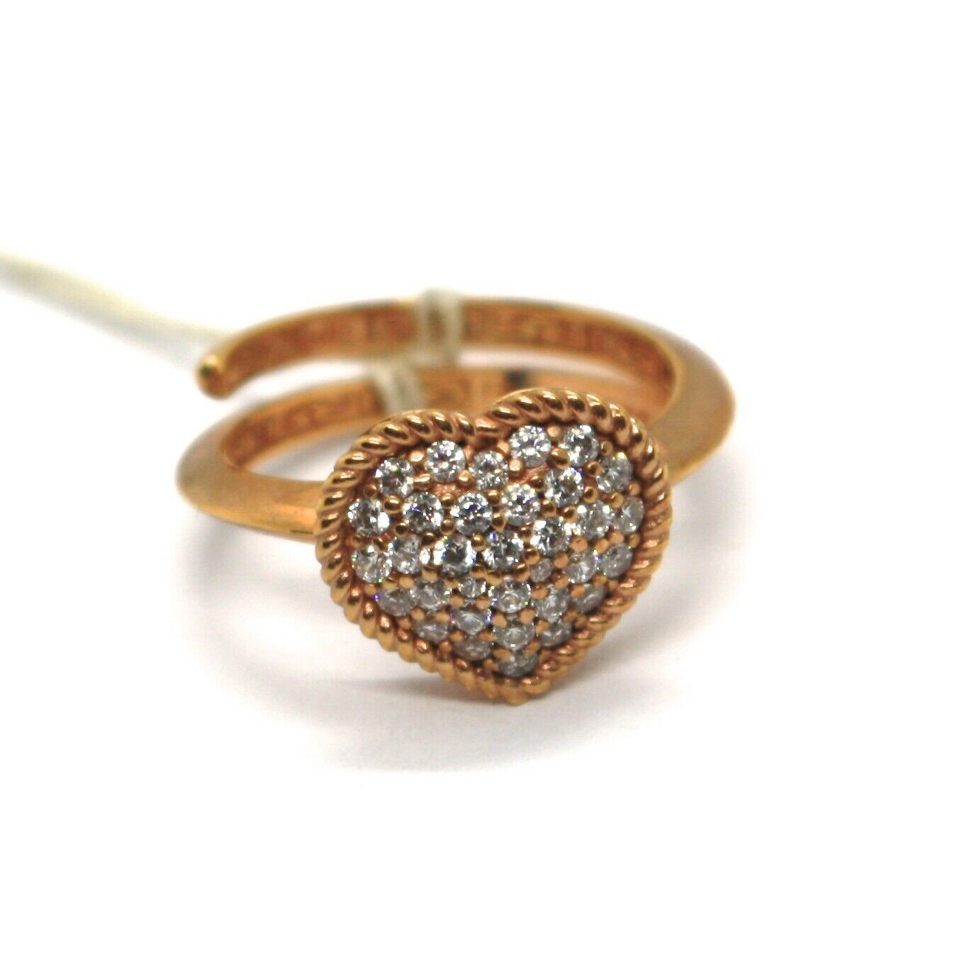 REBECCA BRONZE SOLITAIRE ROSE RING HEART WITH CUBIC ZIRCONIA B14ARB04 ITALY MADE