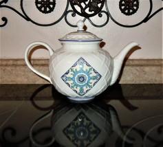 Lenox Mediterra Collection 48oz Carved Teapot Embossed Blue Medallion 2009 - $98.99