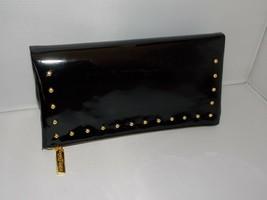 Estee Lauder Evening Bag Cosmetic Clutch BLACK GOLD Studs Zipper Vinyl P... - $30.68