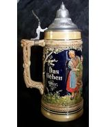 Vintage Stein Hand Painted Pottery Lidded FRENCH ZONE Germany Unmarked Gerz - $64.98