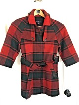 GAP Buffalo Check Red & Black 3/4 Sleeve Plaid Wool Pea Coat Jacket SIZE XS - $37.57