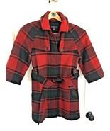 GAP Buffalo Check Red & Black 3/4 Sleeve Plaid Wool Pea Coat Jacket SIZE XS - $37.57