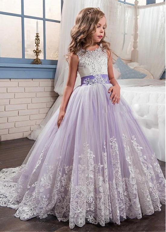 Primary image for Gorgeous Tulle & Satin Jewel Neckline Ball Gown Flower Girl Dress WLace Applique